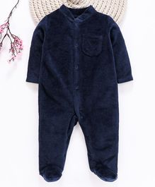 Fox Baby Full Sleeves Winter Footed Romper - Navy Blue