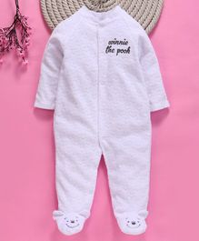 Fox Baby Full Sleeves Winter Footed Romper Winnie the Pooh Embroidery - White