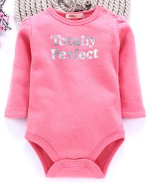 Fox Baby Full Sleeves Onesie Totally Perfect Print - Pink