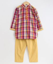 Knitting Doodles Checkered Full Sleeves Kurta With Pyjama - Multicolor