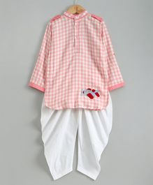 Knitting Doodles Checkered Aeroplane Patch Full Sleeves Kurta With Dhoti - Pink & White