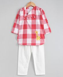 Knitting Doodles Checkered Full Sleeves Kurta With Pyjama - Pink & White