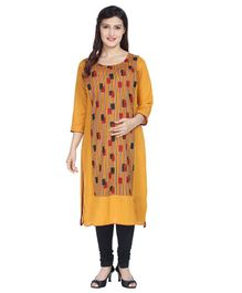 Morph Rectangle Print Three Fourth Sleeves Nursing Kurta - Yellow