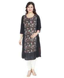 Morph Flower Print Three Fourth Sleeves Nursing Kurta - Black