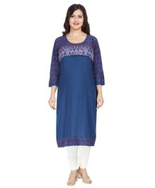 Morph Flower Print Three Fourth Sleeves Maternity Feeding Kurta - Blue