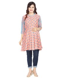 Morph Flower Print Three Fourth Sleeves Maternity Nursing Kurta - Peach