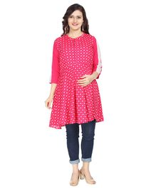 Morph Printed Three Fourth Sleeves Maternity Feeding Kurta - Pink