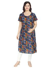 Morph Flower Print Half Sleeves Maternity Nursing Kurta - Blue