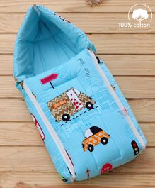Babyhug Sleeping Bag Cars Print - Sky Blue