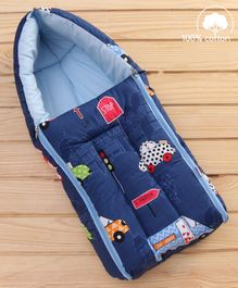 Babyhug Sleeping Bag Cars Print - Navy Blue