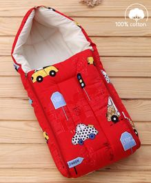 Babyhug Sleeping Bag Cars Print - Red