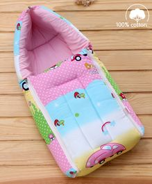 Babyhug Sleeping Bag Cars Print - Pink