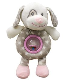 Buddsbuddy Premium Soft Funny Dog Shaped Baby Rattle with Music - Pink