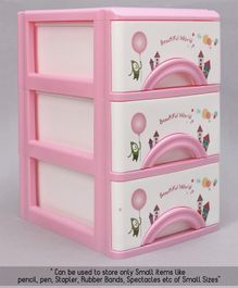 3 Compartments Chest of Drawers - Pink