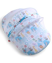 Fisher Price Baby Mattress With Mosquito Net & Pillow Animal Print - Blue