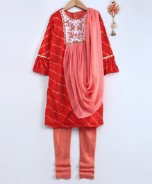 Neha Gursahani Leheriya Three Fourth Sleeves Kurta With Attached Dupatta & Churidar - Orange