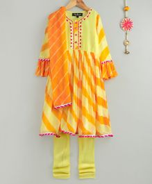 Neha Gursahani Ruffled Full Sleeves Leheriya Anarkali With Churidar & Dupatta - Yellow