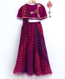 Neha Gursahani Flower Lace Detailed Half Sleeves Choli With Attached Dupatta & Leheriya Lehenga - Purple