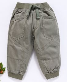 Cucumber Full Length Jogger Pants With Drawstring - Khaki