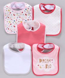 Knitted Bibs Pack of 5 - Pink