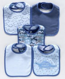 Knitted Bibs Pack of 5 - Blue