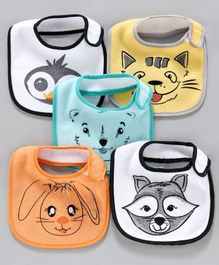 Terry Printed Bibs Pack of 5 - Multicolor