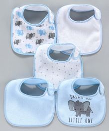 Terry Printed Bibs Pack of 5 - Blue White