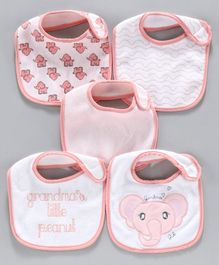 Terry Printed Bibs Pack of 5 - Pink