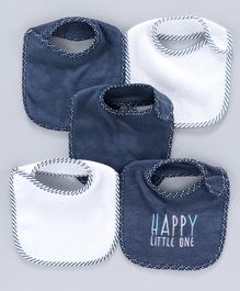 Terry Bibs Pack of 5 - Navy White