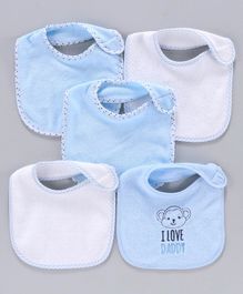 Knitted Bibs Pack of 5 - Blue White