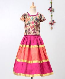 Mom's Girl Short Sleeves Butterfly Print Choli With Lehenga - Pink