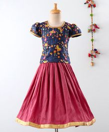 Mom's Girl Butterfly & Flower Printed Short Sleeves Choli With Lehenga  - Pink & Blue
