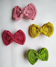 Milonee Handmade Bow Crochet 4 Hair Clips - Yellow Pink & Green