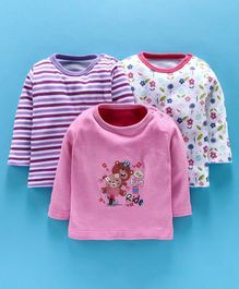 Kidi Wav Bear & Flower Print Full Sleeves Pack Of 3 Tee - Pink