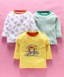 Kidi Wav Pack Of 3 Striped & Animal Print Full Sleeves Tee - Yellow & White