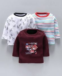 Kidi Wav Zebra & Bear Print Full Sleeves Pack Of 3 Tee - White & Maroon