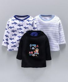 Kidi Wav Shark & Bear Print Full Sleeves Pack Of 3 Tee - White & Blue