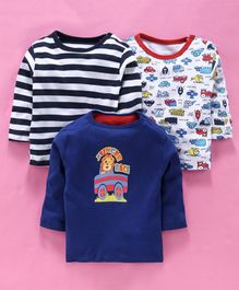 Kidi Wav Pack Of 3 Striped & Cars Print Full Sleeves Tee - Navy Blue & White