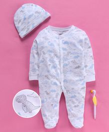Cucumber Full Sleeves Footed Romper With Cap Dino Print - Grey Blue