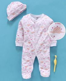 Cucumber Full Sleeves Footed Romper With Cap Dino Print - Pink Peach