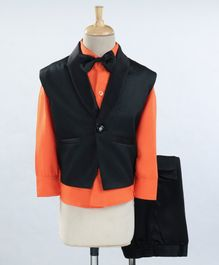 Jeet Ethnics Full Sleeves Solid Three Piece Party Suit With Bow Tie - Orange