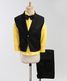Jeet Ethnics Full Sleeves Solid Three Piece Party Suit With Bow Tie - Yellow