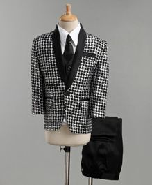 Jeet Ethnics Full Sleeves Checked Four Piece Party Suit With Tie - Black