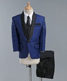 Jeet Ethnics Full Sleeves Checked Four Piece Party Suit With Tie - Blue
