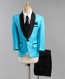 Jeet Ethnics Full Sleeves Coat With Shirt Waistcoat Tie And Pant Set - Blue