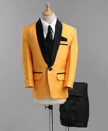 Jeet Ethnics Full Sleeves Coat With Shirt Waistcoat Tie And Pant Set - Yellow