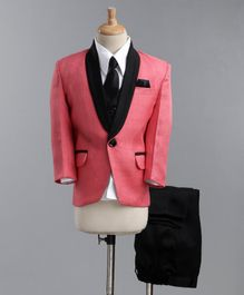 Jeet Ethnics Full Sleeves Coat With Shirt Waistcoat Tie And Pant Set - Pink