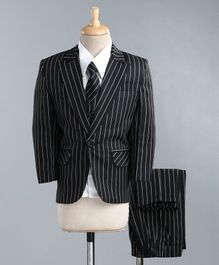 Jeet Ethnics Full Sleeves Striped Four Piece Party Suit With Tie - Black