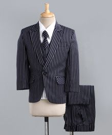 Jeet Ethnics Full Sleeves Striped Four Piece Party Suit With Tie - Navy Blue