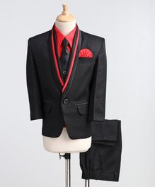 Jeet Ethnics Full Sleeves Solid Four Piece Party Suit With Tie - Black
